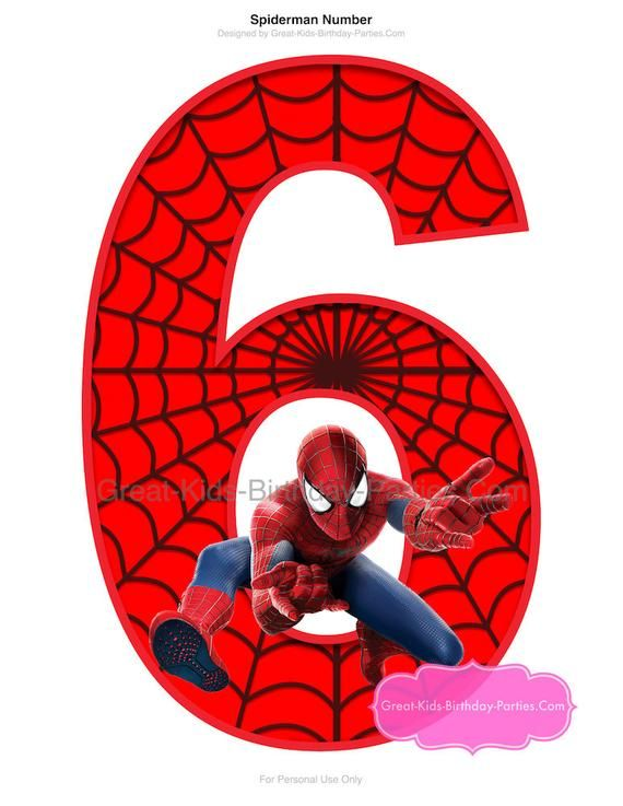 SPIDERMAN PRINTABLE NUMBER 6 Centerpiece.