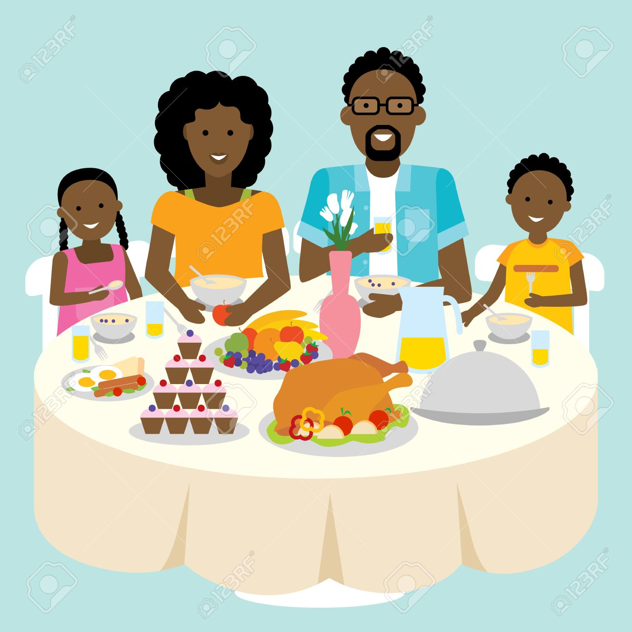 Happy african american family dinner table. Thanksgiving celebration.