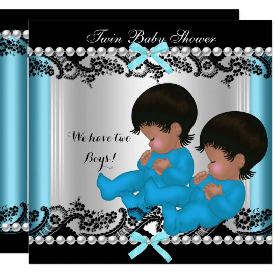 African American Twin Boys Baby Shower Blue 3 Invitation.