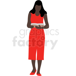 african american woman reading a book vector clipart . Royalty.