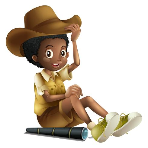 African american boy in safari outfit with telescope.