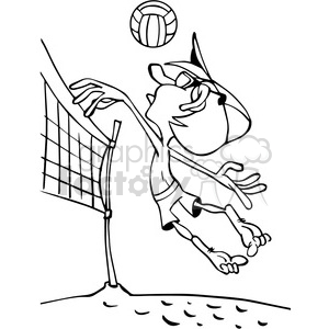 cartoon beach volleyball player outline clipart. Royalty.