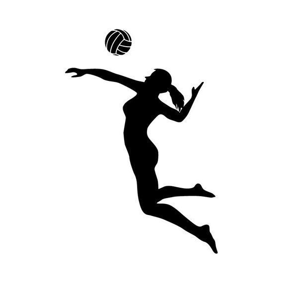 Volleyball Player Spiking Silhouette Sports.