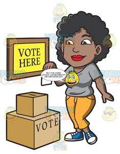 A Black Woman Dropping Her Ballot In The Box.