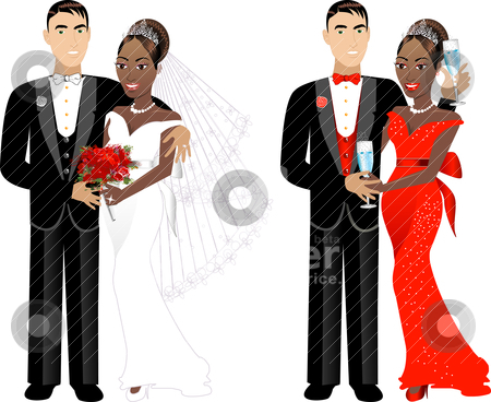 Bride Groom African American stock vector.
