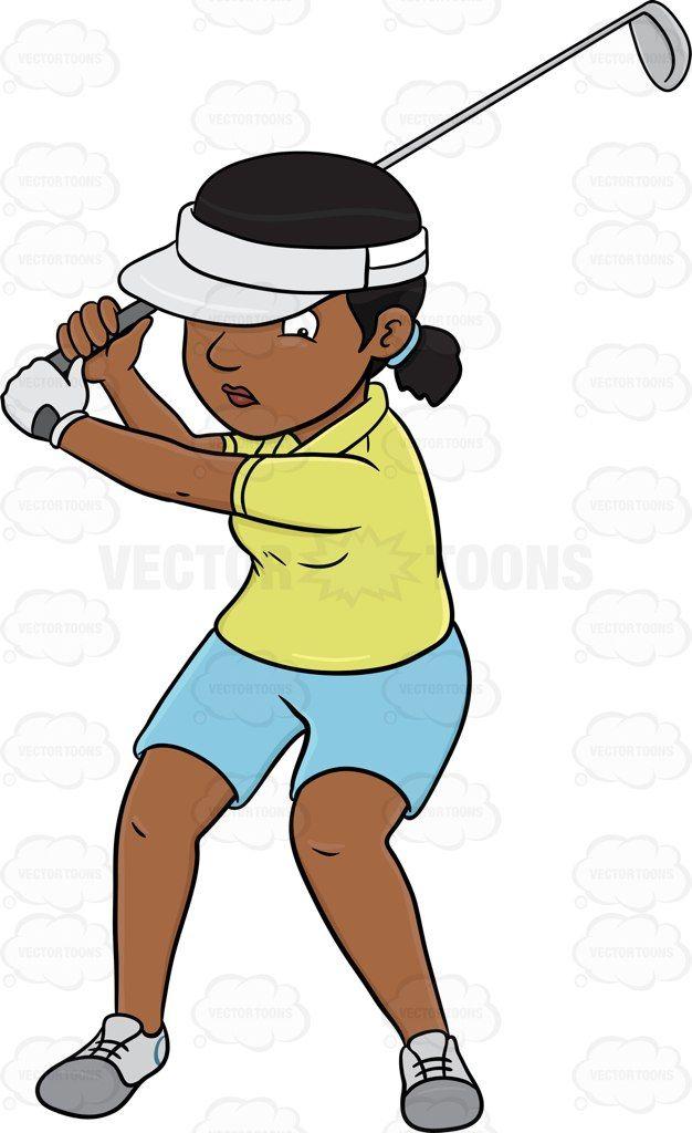 A black female golfer practicing her swing #cartoon #clipart.