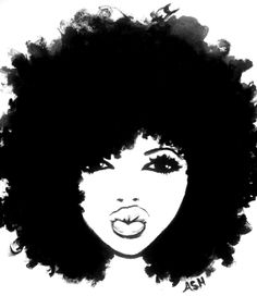 Free Woman With Afro Silhouette, Download Free Clip Art.
