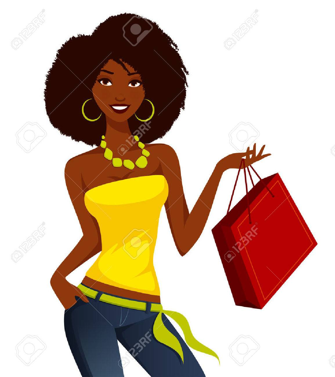 Young African American woman shopping.