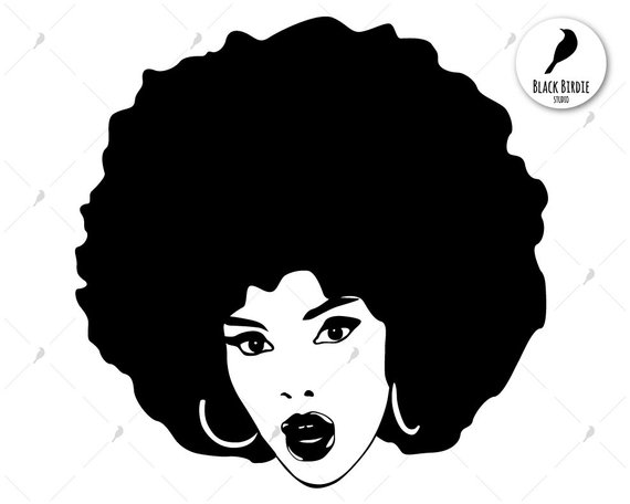 Black woman svg, black woman clipart, afro svg, afro clipart.
