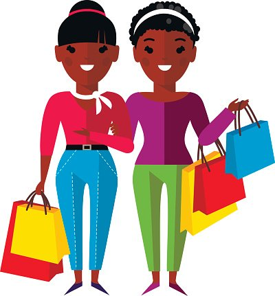 Shopping concept with african american woman, girl, lady.