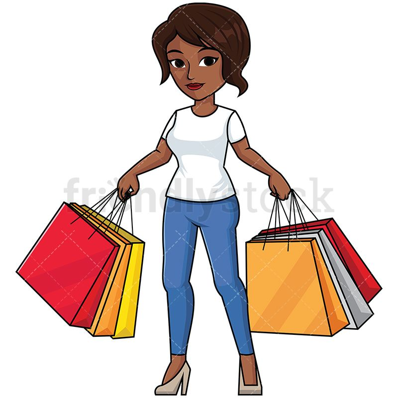 Black Woman Holding Shopping Bags in 2019.