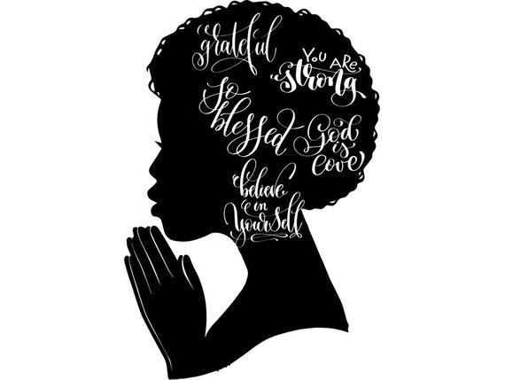 Black Queen Praying Woman Silhouette Afro Nubian Princess Glamour.