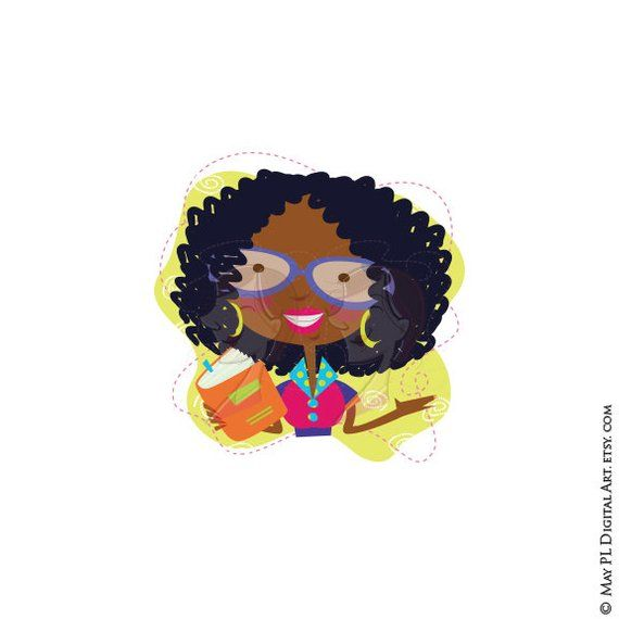 African American Woman Back To School Teachers Clipart.