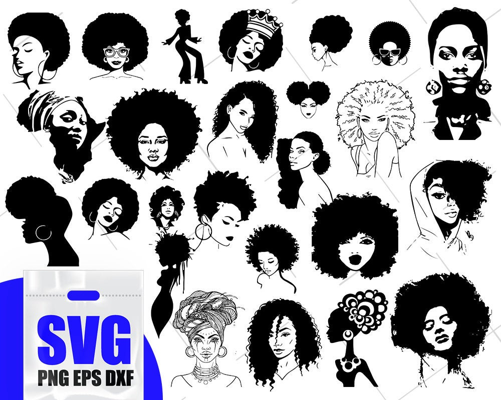Afro Woman svg Bundle, Black woman svg, African American Woman Clipart, Cut  File Afro Girl svg vector, African Shirt Print svg, png, eps.