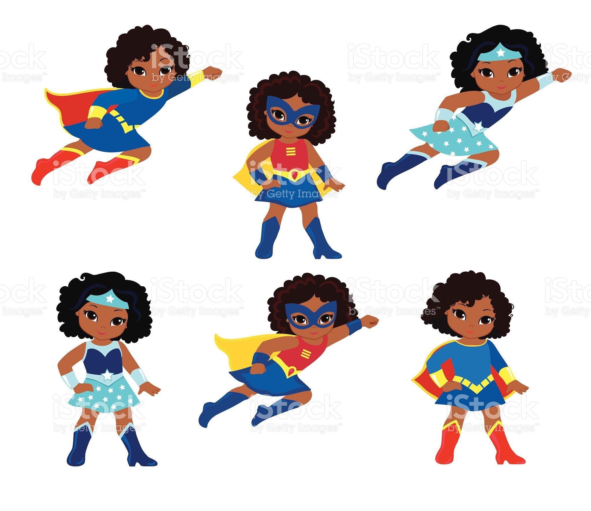 African American Cute superhero girl vector clip art set. in.