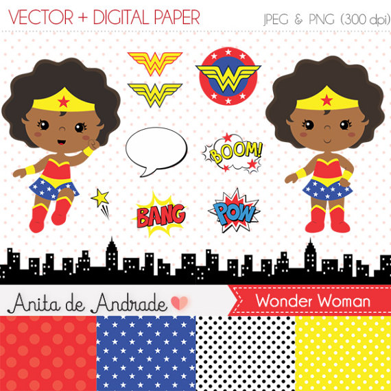 Wonder Woman Clipart Black.
