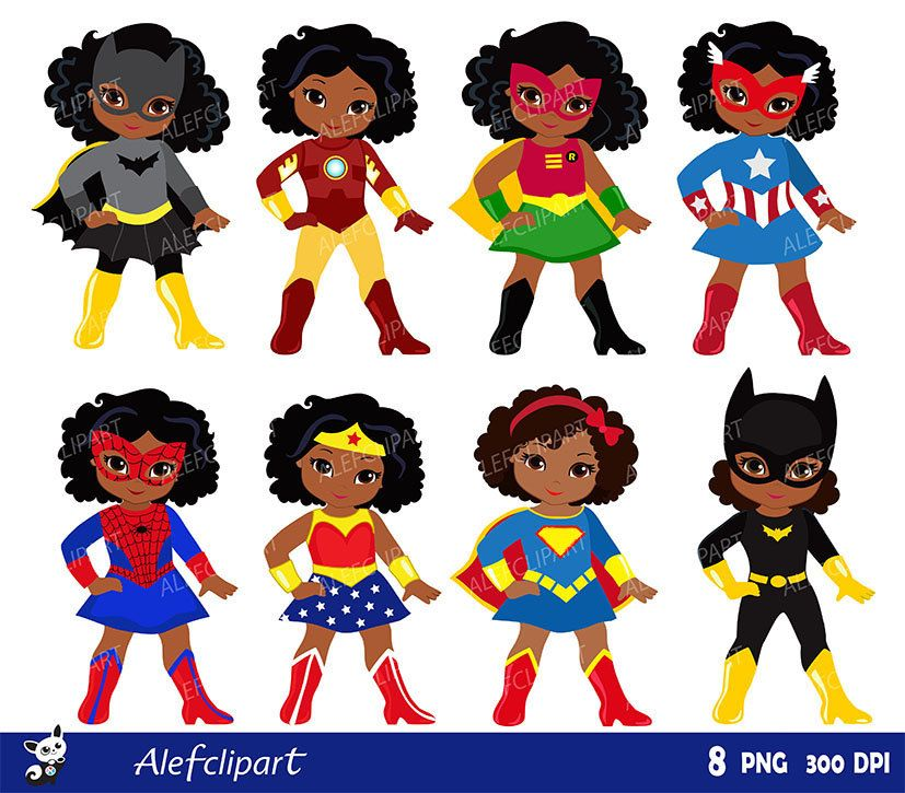 Girls African American in superhero costume. Instant.