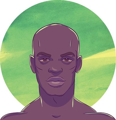 Young Serious Muscular Bald African American Man premium.