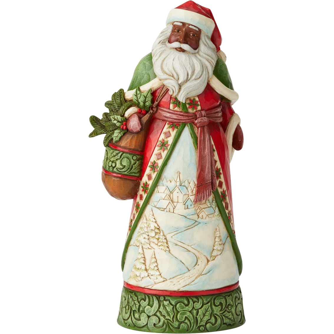 Jim Shore Heartwood Creek Santa With Winter Scene Figurine.