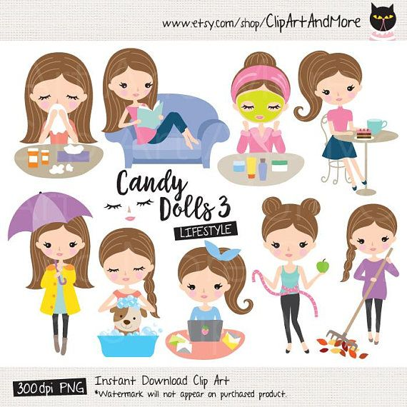 Girl Planner Clipart Brown Hair Girl Clipart Cute Girl.