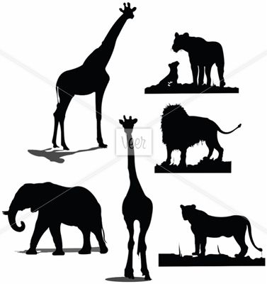 African animal silhouettes. Black and white silhouettes.