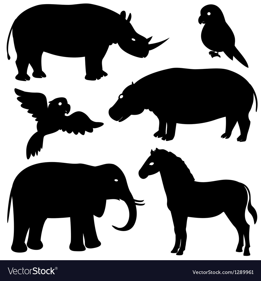 Set 1 of african animals silhouettes.