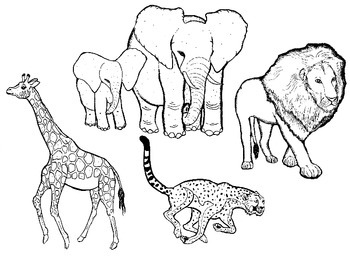 African Animals in Black and White: Commercial Clipart.