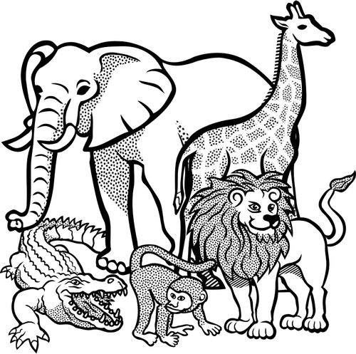 Outline drawing of African animals.