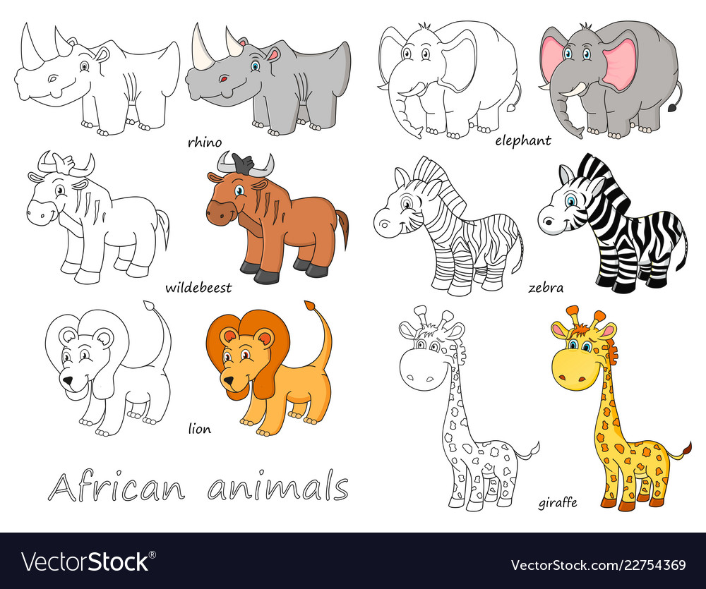 Cartoon african animals outline and colored.