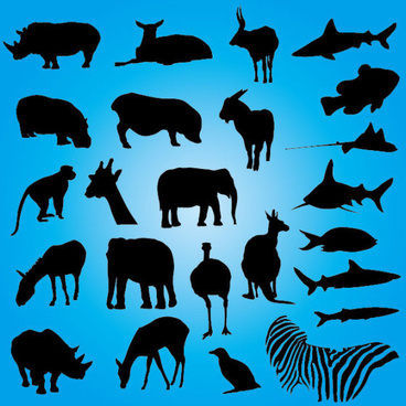 African animals silhouettes free vector download (13,785.