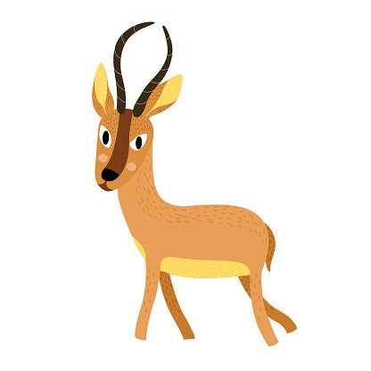 African animal antelope cartoon character. Clipart Image.
