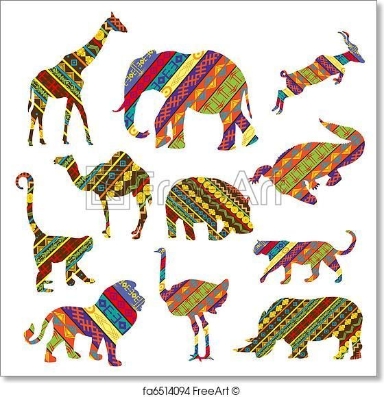 Free art print of Set of African animals made of ethnic.