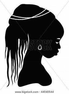Afro Silhouette Clip Art.