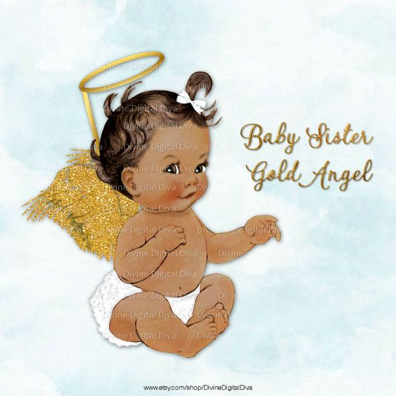 Baby Angel with White Ruffle Pants Gold Glitter Wings & Halo.
