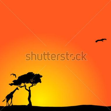 Vector Background With African Sunset stock vector.