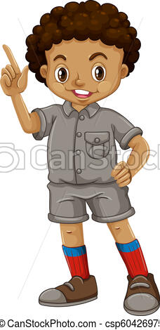 An african boy on white background.