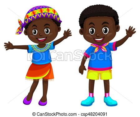 African boy and girl smiling.