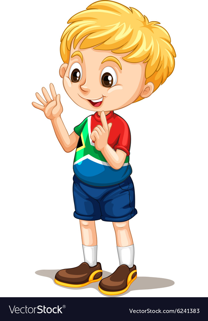South African boy counting with fingers.