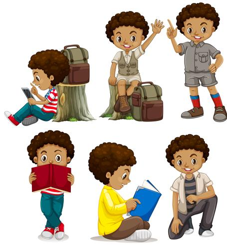 A set of African boy characters.