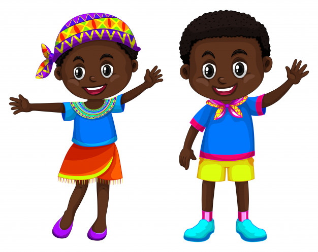 African boy and girl smiling Vector.