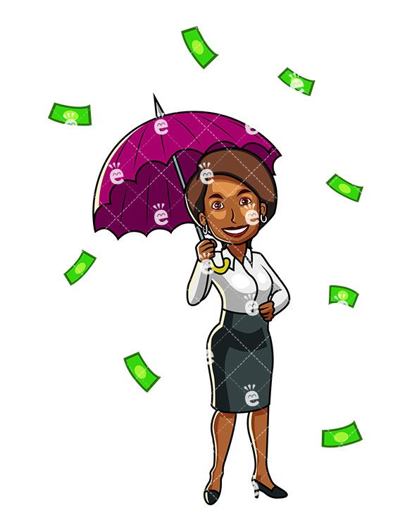 A Black Woman Under An Umbrella While Raining Money in 2019.