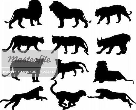 big cats silhouette collection.