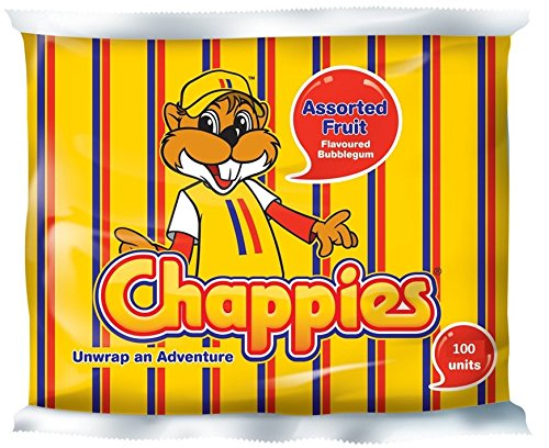 Chappies Fruit Assorted Flavoured Bubblegum 100 unites.