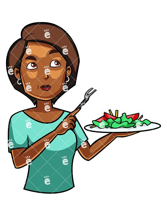 A Black Woman Eating A Salad in 2019.