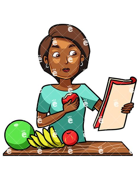 A Black Woman Eating An Apple While Reading in 2019.