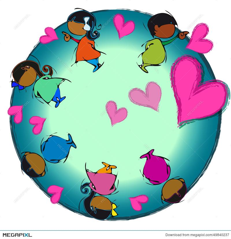 Heart Earth, Circle Mandala, Cartoon For Baby Children.