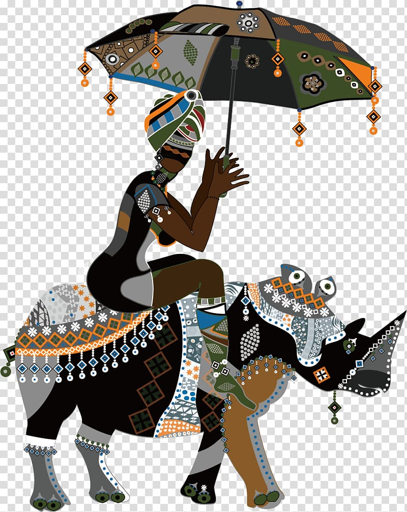 Woman holding umbrella , African art Drawing, African People.