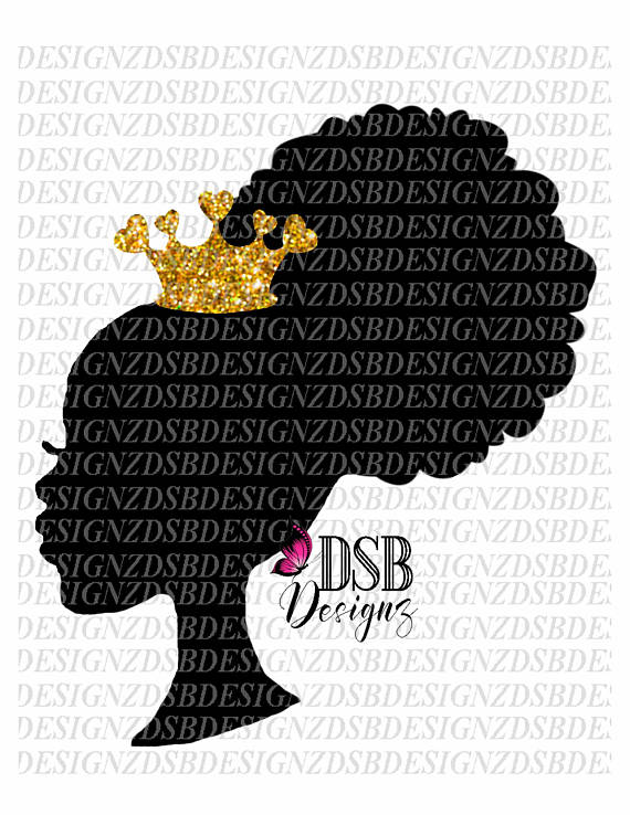 Christmas Clipart, African Girl Silhouette, African American Clip.