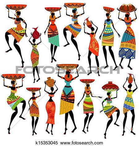 Clip Art of African women in traditional dress k8725446.