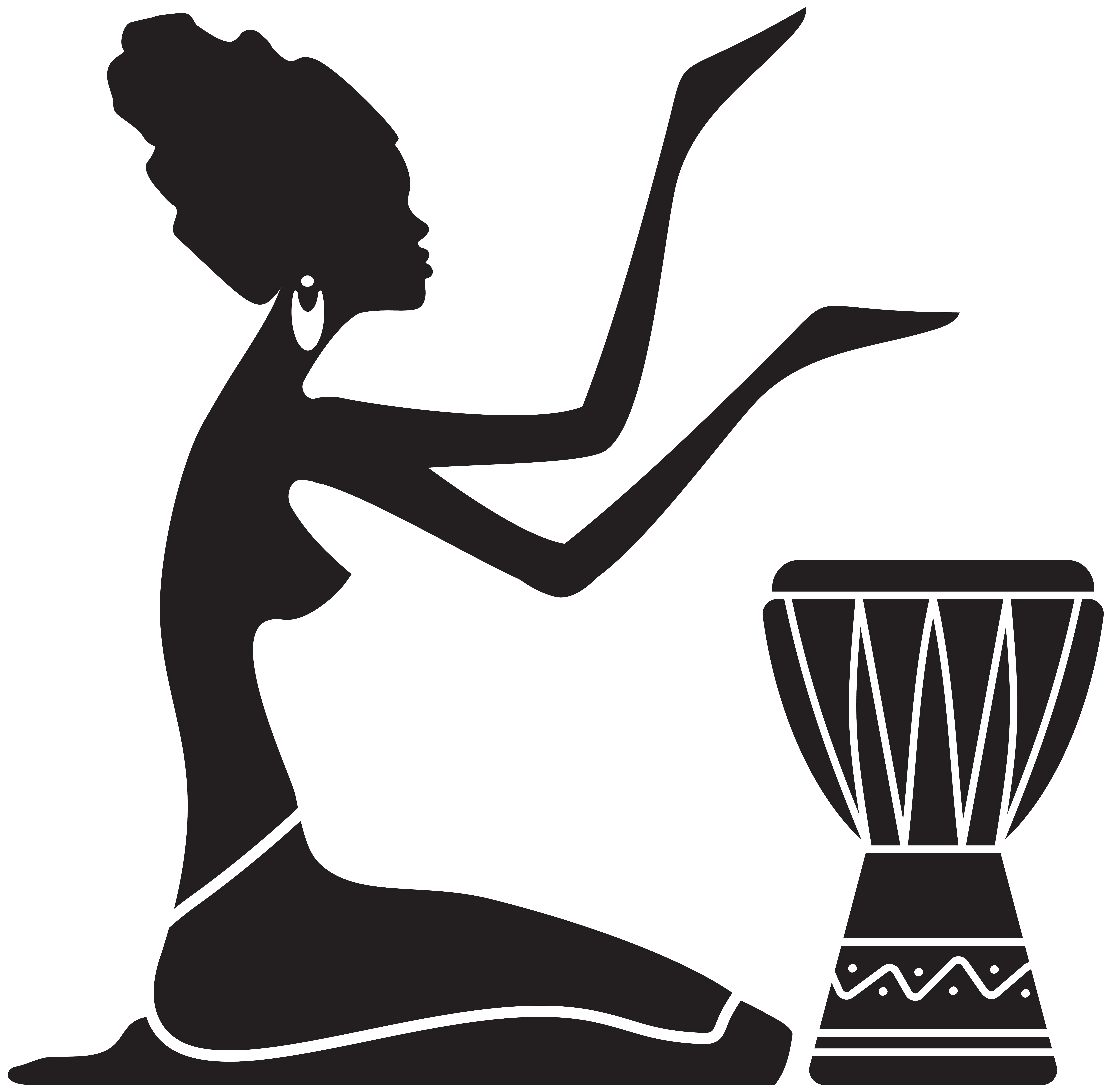 African Women Silhouette PNG Clip Art Image.